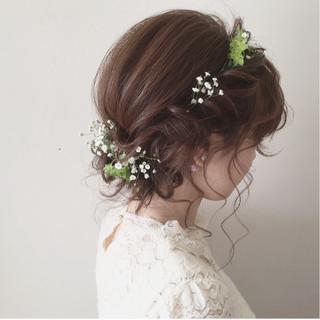 大人かわいい 結婚式 ヘアアレンジ ナチュラル ヘアスタイルや髪型の写真・画像 ヘアスタイルや髪型の写真・画像