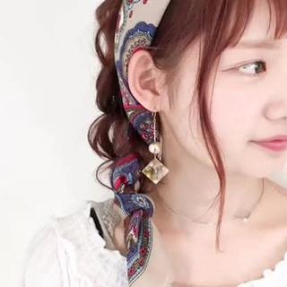 大人かわいい ルーズ 編み込み セミロング ヘアスタイルや髪型の写真・画像