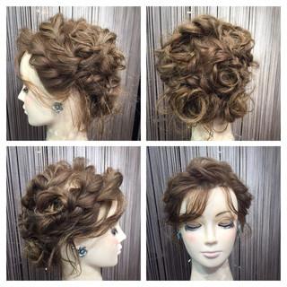 後れ毛 編み込み 結婚式 セミロング ヘアスタイルや髪型の写真・画像 ヘアスタイルや髪型の写真・画像