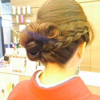 ミディアム ヘアアレンジ 袴 編み込み ヘアスタイルや髪型の写真・画像
