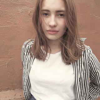 ストリート パーマ ハイライト ミディアム ヘアスタイルや髪型の写真・画像
