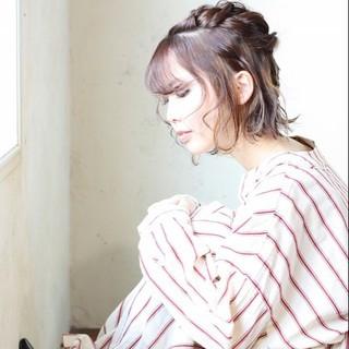 ガーリー うざバング ネオウルフ 外ハネボブ ヘアスタイルや髪型の写真・画像
