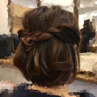 フェミニン ボブ ヘアアレンジ 結婚式 ヘアスタイルや髪型の写真・画像