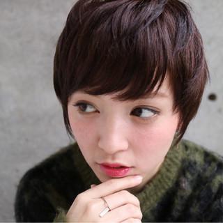 小顔 ナチュラル ベリーショート 似合わせ ヘアスタイルや髪型の写真・画像