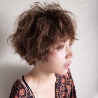 大人女子 小顔 コンサバ ショート ヘアスタイルや髪型の写真・画像