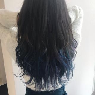 ブルーブラック ブルー 外国人風カラー オーロラカラー ヘアスタイルや髪型の写真・画像