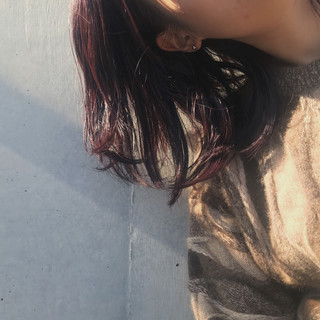 暖色 ミディアム ピンクバイオレット ナチュラル ヘアスタイルや髪型の写真・画像