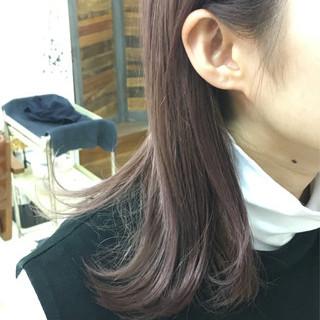 ハイトーン ダブルカラー ピンク ミディアム ヘアスタイルや髪型の写真・画像
