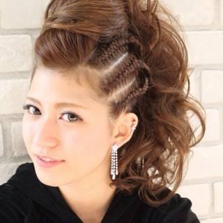 アップスタイル コンサバ パーティ 編み込み ヘアスタイルや髪型の写真・画像