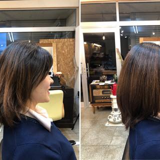 ツヤツヤ ミディアム 髪質改善 小顔ヘア ヘアスタイルや髪型の写真・画像