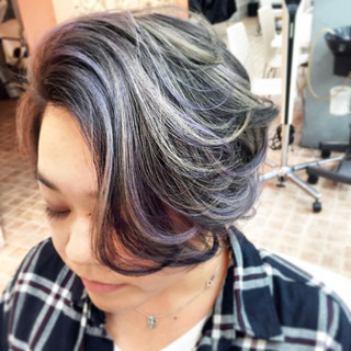 アッシュ ハイライト ショート モード ヘアスタイルや髪型の写真・画像 ヘアスタイルや髪型の写真・画像