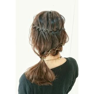ミディアム 上品 ポニーテール ヘアピン ヘアスタイルや髪型の写真・画像 ヘアスタイルや髪型の写真・画像
