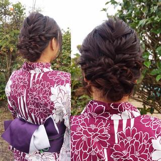 花火大会 セミロング ナチュラル 和装 ヘアスタイルや髪型の写真・画像