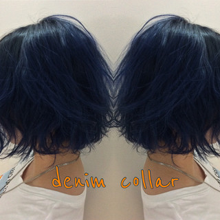 ストリート ネイビーブルー ボブ ナチュラル可愛い ヘアスタイルや髪型の写真・画像