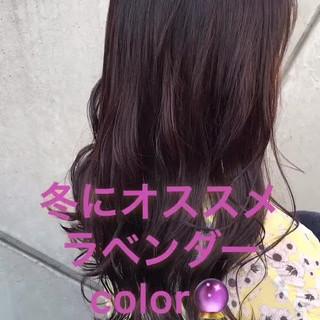 ラベンダーアッシュ ロング グレージュ ラベンダーピンク ヘアスタイルや髪型の写真・画像