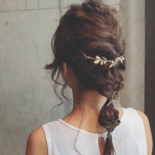 セミロング 結婚式 ヘアアレンジ ガーリー ヘアスタイルや髪型の写真・画像 ヘアスタイルや髪型の写真・画像