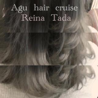 ミディアム 外国人風カラー ホワイトアッシュ アッシュ ヘアスタイルや髪型の写真・画像