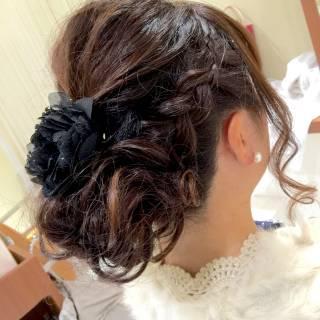 結婚式 モテ髪 ヘアアレンジ ゆるふわ ヘアスタイルや髪型の写真・画像
