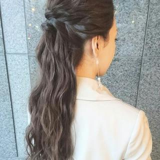 ロング ハーフアップ ゆるふわ ショート ヘアスタイルや髪型の写真・画像