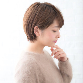 ナチュラル ショート 前髪あり 大人女子 ヘアスタイルや髪型の写真・画像