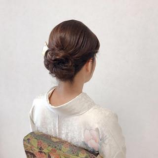 ヘアアレンジ 訪問着 エレガント ミディアム ヘアスタイルや髪型の写真・画像