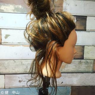 ハーフアップ ハイライト 大人女子 3Dカラー ヘアスタイルや髪型の写真・画像