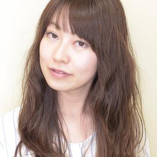 ロング 大人かわいい デジタルパーマ ひし形シルエット ヘアスタイルや髪型の写真・画像
