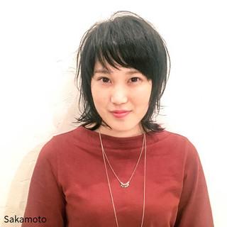 外国人風 外ハネ レイヤーカット ミディアム ヘアスタイルや髪型の写真・画像