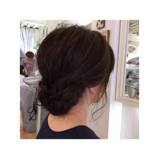 ミディアム リラックス 簡単ヘアアレンジ ナチュラル ヘアスタイルや髪型の写真・画像