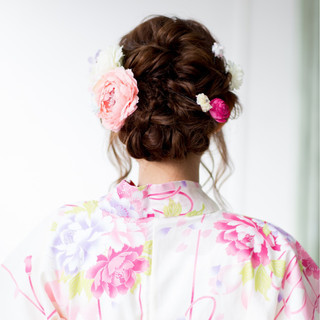 和装 ロング アップスタイル お祭り ヘアスタイルや髪型の写真・画像