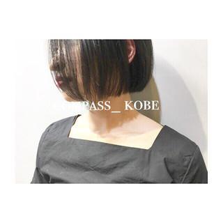 シースルーバング ボブ ワイドバング ナチュラル ヘアスタイルや髪型の写真・画像