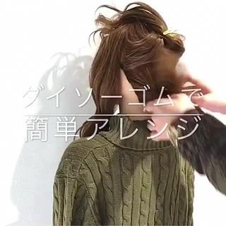 簡単ヘアアレンジ デート セミロング フェミニン ヘアスタイルや髪型の写真・画像