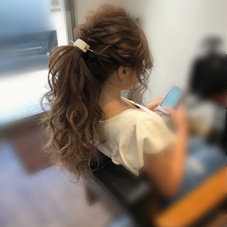 アップスタイル ポニーテール ロング ヘアアレンジ ヘアスタイルや髪型の写真・画像