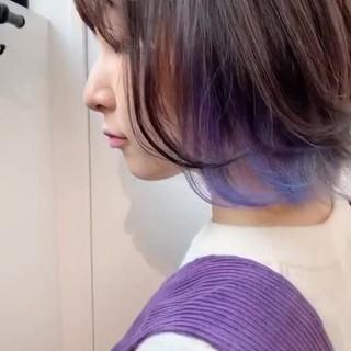 ショートボブ インナーカラー ベリーショート ストリート ヘアスタイルや髪型の写真・画像