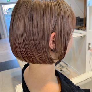 フェミニン ボブ ピンク ベージュ ヘアスタイルや髪型の写真・画像