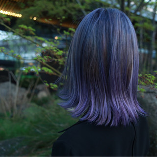 モード グレージュ パープル ミディアム ヘアスタイルや髪型の写真・画像 ヘアスタイルや髪型の写真・画像