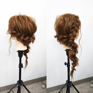 エレガント 編み込み ヘアアレンジ 結婚式 ヘアスタイルや髪型の写真・画像