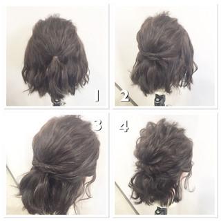 ゆるふわ ショート ハーフアップ 簡単ヘアアレンジ ヘアスタイルや髪型の写真・画像