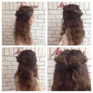 編み込み ロング モテ髪 コンサバ ヘアスタイルや髪型の写真・画像