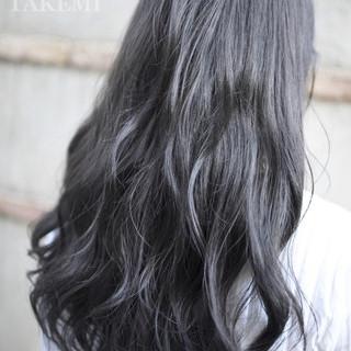 大人かわいい 暗髪 ロング ハイライト ヘアスタイルや髪型の写真・画像