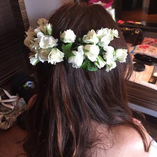 花 ヘアアレンジ 結婚式 大人かわいい ヘアスタイルや髪型の写真・画像