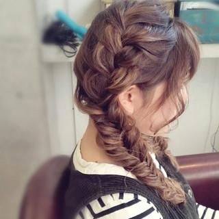 ショート ハーフアップ 簡単ヘアアレンジ 編み込み ヘアスタイルや髪型の写真・画像