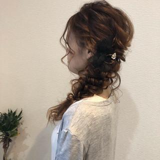 浴衣ヘア 浴衣アレンジ セミロング 編みおろしヘア ヘアスタイルや髪型の写真・画像