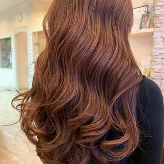 エレガント ピンクブラウン ハイライト ピンクベージュ ヘアスタイルや髪型の写真・画像