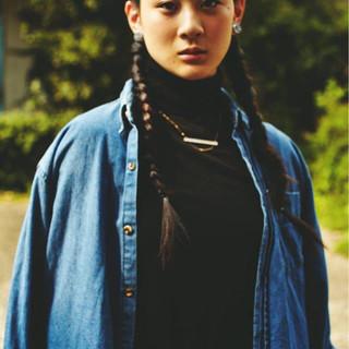 ヘアアレンジ かっこいい 編み込み ロング ヘアスタイルや髪型の写真・画像