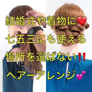 フェミニン ヘアアレンジ 簡単ヘアアレンジ ロング ヘアスタイルや髪型の写真・画像