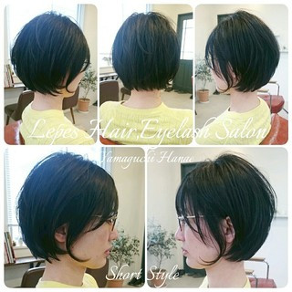 黒髪 パーマ 前下がり ショート ヘアスタイルや髪型の写真・画像