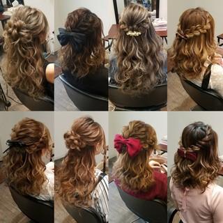 ヘアアレンジ フェミニン 編み込み ハーフアップ ヘアスタイルや髪型の写真・画像