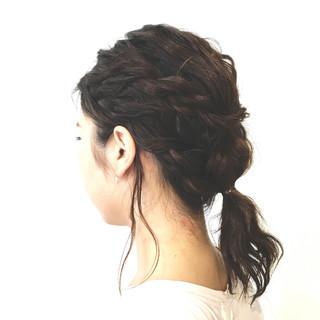 フィッシュボーン ロープ編み ヘアアレンジ ローポニーテール ヘアスタイルや髪型の写真・画像