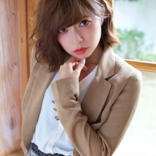 大人かわいい 卵型 ミディアム 丸顔 ヘアスタイルや髪型の写真・画像